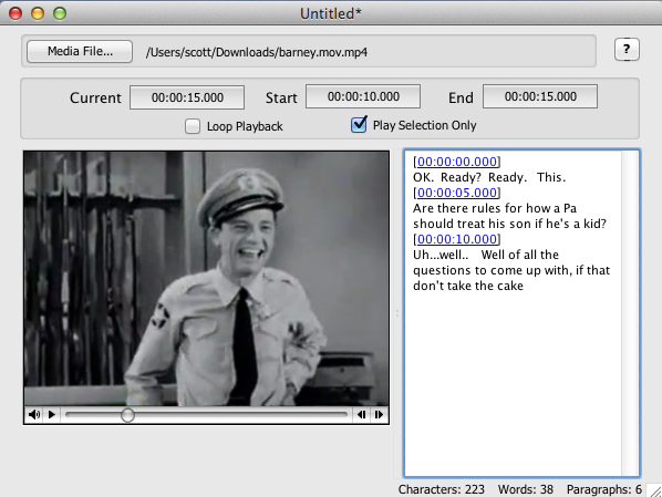 Screen shot of HyperTRANSCRIBE with Andy Griffith episode.