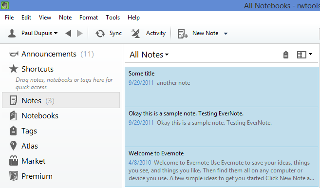 Selecting notes in Evernote